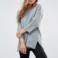 Pull&Bear Boat Neck Oversize Raw Edge Sweat In Grey at asos.com