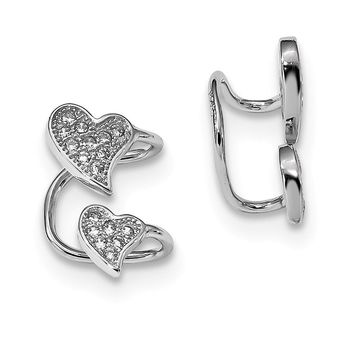 925 Sterling Silver Rhodium-plated CZ Double Heart Left Cuff Earrings