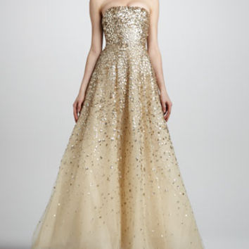 Strapless Floral Paillette Ball Gown, Champagne