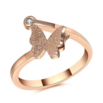 Titanium Steel Butterfly Ring
