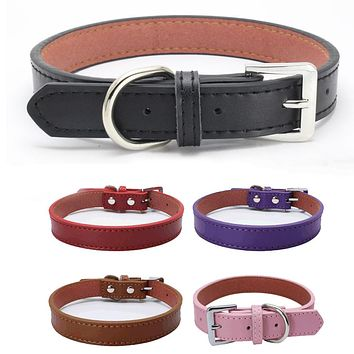 Small Large Pet Fashion Solid Color Collar Faux Leather Bucket Cat Dog Neck Strap