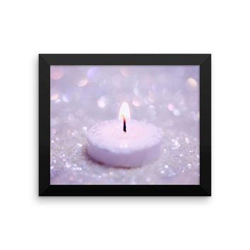 Pink Candle Framed photo paper poster