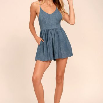Magic Rush Washed Blue Romper