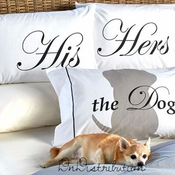 Pet Lovers Pillowcases His Hers the Dog or the Cat Cotton & Polyester