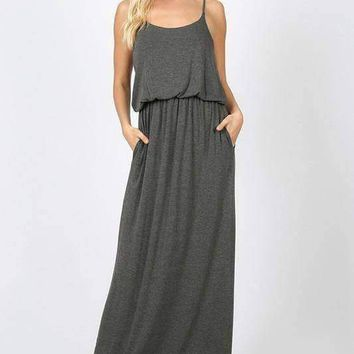 Two Layer Maxi Dress - Charcoal