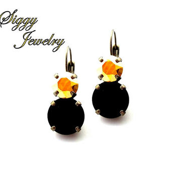 Swarovski Crystal Drop Earrings, 12mm Jet, 8mm Gold Metallic Sunshine, Game Day Jewelry, Pittsburgh Steelers Colors, Assorted Finishes