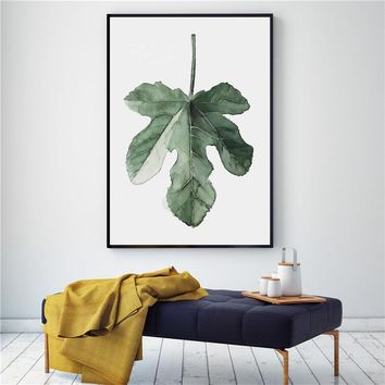 Watercolor Plant Leaves Poster Landscape Wall Art Canvas Painting for Living Room Decoration Wall Picture Tropical Art Picture