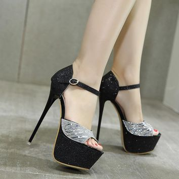 Sequins Peep Toe Ankle Wrap High Platform Super High Stiletto Heels Sandals