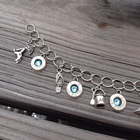 Bullet jewelry. Beach themed charm bracelet with bullet casings