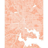 Baltimore City Map - Maryland, USA Art Poster Print - customize your map, choose your color - Johns Hopkins, Maryland-Baltimore, Loyola