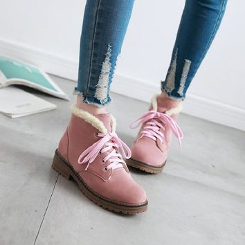 ankle boots for women winter boots snow shoes woman female australia pink beige front lace-up casual autumn warm low boots &902