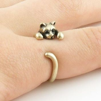 Animal Wrap Ring - Kitten / Cat - Yellow Bronze - Adjustable Ring - keja jewelry