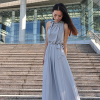 Gray Plus size Dress Sleeveless Chiffon Maxi Dress Long Dress Summer Day Dress (107), #43