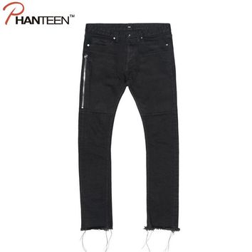 Hiphop Hi-street Man Jeans Slim Fit Side Zipper Ripped Casual Jeans Youth Black Color Fashion Men Jeans