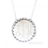 Monogrammed Sterling Silver Scallop Necklace | Marley Lilly