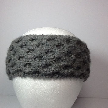 Honeycomb Cable Knit Headband, Merino wool, ash grey,  fleece lined option, cozy ear warmer, knitted head band with unique design
