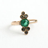 Antique Victorian 8k Rose Gold Rose Cut Diamond & Simulated Emerald Ring - Vintage Size 9 Late 1800s Green Glass Navette Shaped Fine Jewelry