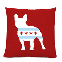Chicago Flag French Bulldog Pillow - Chicago Home Decor - French Bulldog pillow - dog breed silhouette pillow - dog home decor - Dog Pillow