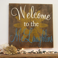 Welcome Sign Rustic Pallet Sign Sunflower Wall Art Country Wall Decor Wood Wall Art Housewarming Gift Wedding Gift Personalized Sign