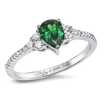 A 1.4CT Pear Cut Emerald Green Russian Lab Diamond Ring