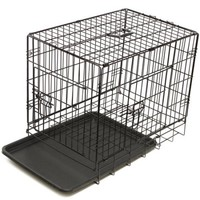 "OxGord 42"" Heavy Duty Foldable Double Door Dog Crate with Divider and Removable ABS Plastic Tray, 42"" x 27"" x 30"" - Walmart.com"