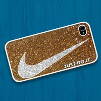 Nike just do it with luxurious glitter : Case For Iphone 4/4s ,5 / Samsung S2,3,4