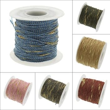 100Yards two tone Purl nylon cord 1mm Chinese Knot Macrame Cord Shamballa tassel Thread Cord for DIY Necklace Bracelet Braided
