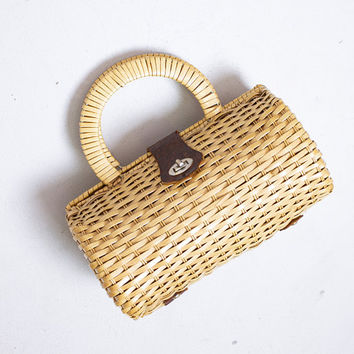 Vintage Basket Purse - 1960s BrownWicker Wooden Top Handle Round Rattan Bag 60s