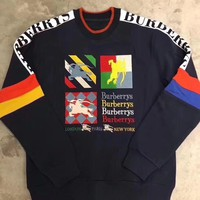 Burberry Fashion Embroidery Logo Pink Pullover Sweater