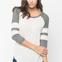 Color Block Striped Sleeve Knit Shirt