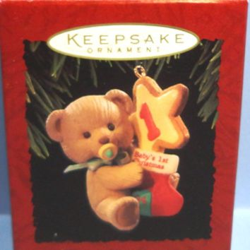 1994 Baby's First Christmas Bear Hallmark Retired Ornament