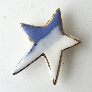 Porcelain Star Brooch. Cobalt Blue & Glossy White Glaze with 22K Gold Decoration. Denim. Indigo. Cornflower. Starry Night Sky. Abstract Star