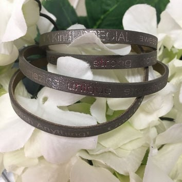 """""""You Are Beautiful..."""" Wrap Around Good Works Bracelet in Taupe"""