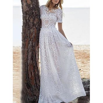 Lace Short Sleeve Beach Resort Maxi Dress