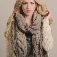 Ombre Cable Knit Scarf - Mocha