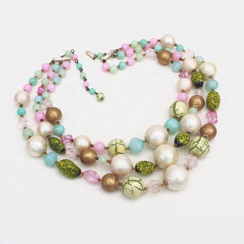 Green, White, Pink & Gold Multi-Strand Necklace ~ Vintage Japan Graduated Bib Textured Bead Choker