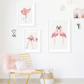 Watercolor Flamingo Canvas Art Print Poster, Wall Pictures for Home Decoration, Giclee Print Wall Decor
