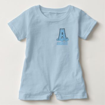 Blue A for Alligator Boy's Monogram Two Sided Baby Romper