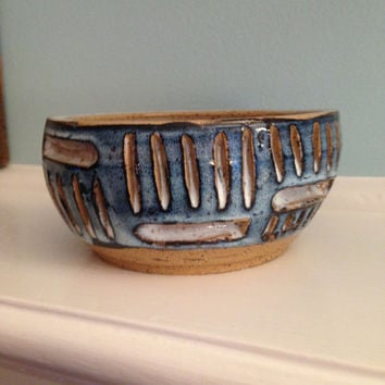 12oz Small blue and white bowl with abstract art design. Wheel thrown pottery. Speckled stoneware bowl. Food safe. Unique and fun bowl