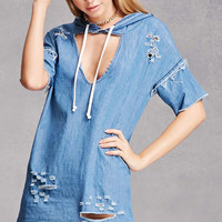 Distressed Cutout Hooded Dress