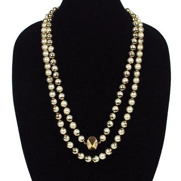 """Christian Dior Pearl and Cold """"Miss Dior"""" Necklace Gold Metal Stone"""