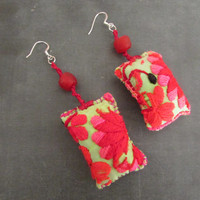 Tribal Textile Green Fuchia Earrings, OOAK Natural Traditional Ecofriendly Jewelry, Women Teens