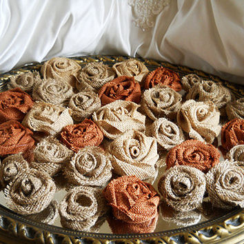 """33 Handmade Natural & Rust Burlap Roses for weddings, bouquet making, wedding decor, scrapbooking, gifts, crafts """"READY TO SHIP"""""""