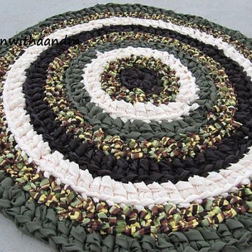 Earth circle crocheted circle rag rug, eco friendly, washable, earthy colors, durable,bath mat, durable, bath mat,  kitchen, home decor