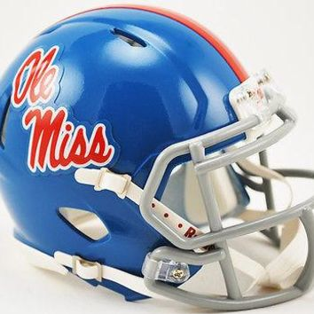 OLE MISS REBELS MISSISSIPPI POWDER BLUE RIDDELL SPEED FOOTBALL MINI HELMET