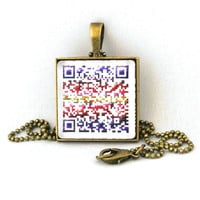 10% SALE - Custom Personalized QR Code Pendant Colourful Design Necklace - Personalized Url Web Address Cell Number sms or Message