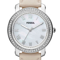 Fossil 'Emma' Crystal Bezel Leather Strap Watch | Nordstrom