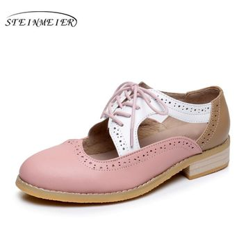 Women's Leather Oxford Sandles Round Toe Handsome Oxford Shoes For Women