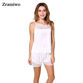 DCCKU62 Satin Pajamas Set Lace Nightgowns Comfy Sleepwear Pretty Nighties Artificial Silk Camisole Short Sets