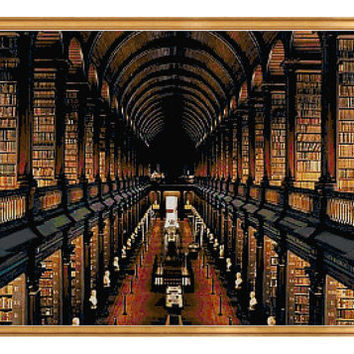 Long Room Trinity College Dublin Cross Stitch Pattern